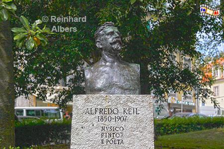 Denkmal für Alfredo Keil auf dem Praça da Alegria nahe der Avenida da Liberdade.  Als Sohn dt. Einwanderer nach Portugal komponierte er dei Musik der portuguiesischen Nationalhymne., Portugal, Praça da Alegria, Lissabon, Alfredo, Kiel, Nationalhymne, Albers, Foto, foreal,