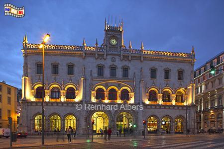 Rossio Bahnhof im neomanuelinischen Stil, Portugal, Lissabon, Rossio, Bahnhof, Eisenbahn, Albers, Zug, Foto, foreal,