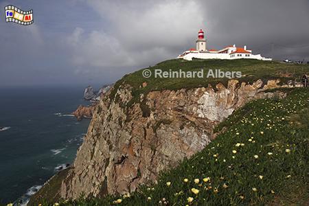 Cabo da Roca westlich von Lissabon, Portugal, Leuchtturm, Klippen, Felsen, Cabo da Roca, Albers, Foto, foreal,