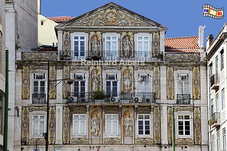 Gekachelte Hausfassade am Largo da Trindade, das Gebäude gehörte früher zum Kloster der Trinitarier, Lissabon, Trindade, Largo, Kloster, Trinitarier, Albers, Foto, foreal,