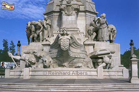 Sockel des Denkmals für Marquês de Pombal auf dem nach ihm benannten Platz., Lissabon, Denkmal, Säule, Marquês, Pombal, Rotunda, Albers, Foto, foreal,