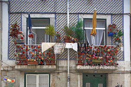 Lissabon, dekorierter Balkon., Lissabon, Balkon, Dekoration, Kunst, Plastikblumen, Albers, Foto, foreal,lumen