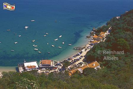 Portinho am Fuße des Arrábida-Gebirges., Portugal, Arrabida, Gebirge, Portinho, Atlantik, Bucht, Albers, Foto, foreal,