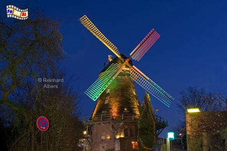 Eutin - Moder Grau mit Weihnachtsbeleuchtung., Windmühle, Eutin, Moder Grau