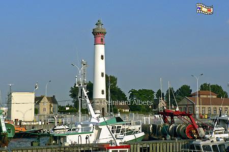 Ouistreham in der Normandie an der Orne-Mündung, Leuchtturm, Frankreich, Normandie, Ouistreham