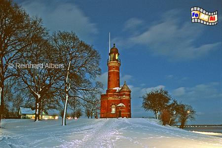 Kiel Holtenau im Winter zur blauen Stunde., Leuchtturm, Deutschland, Schleswig-Holstein, Kiel, Holtenau