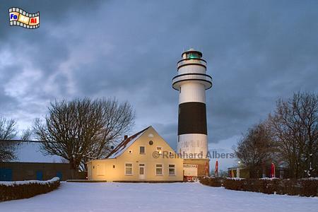 Kiel-Bülk im Winter zur blauen Stunde., Leuchtturm, Deutschland, Schleswig-Holstein, Ostseeküste, Kiel, Bülk