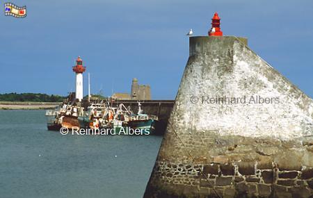 Vaast-La-Hougue in der Normandie., Leuchtturm, Frankreich, Normandie, Vaast-La-Hougue
