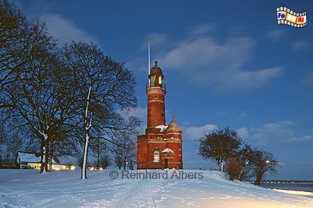 Kiel-Holtenau im Winter zur blauen Stunde., Leuchttturm, Deutschland, Schleswig-Holstein, Nord-Ostsee Kanal, Kiel, Kiel-Holtenau