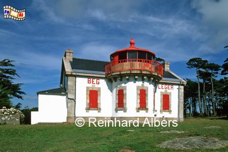 Der Leuchtturm von Beg Leger in der Bretagne beeindruckt durch seine außergewöhnliche Form., Leuchtturm, Lighthouse, Phare, Frankreich, Bretagne, Beg Leger