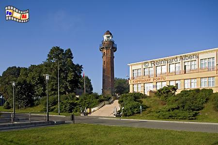 Polen - Gdansk Nowy Port (Danzig Neufahrwasser). Aus einem Fenster dieses Leuchtturms fielen am 1. Sept. 1939 um 4:45 die ersten Schüsse des Zeiten Weltkriegs., Leuchtturm, Polen, Gdansk, Danzig, Neufahrwasser, Nowy Port, Albers foreal, Foto