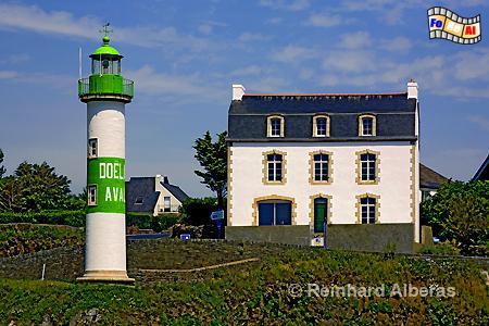 Leuchtturm Aval in der Hafeneinfahrt von Doëlan in der Bretagne., Leuchtturm, Lighthouse, Phare, Bretagne, Aval, Doëlan, Albers, Foto, foreal,