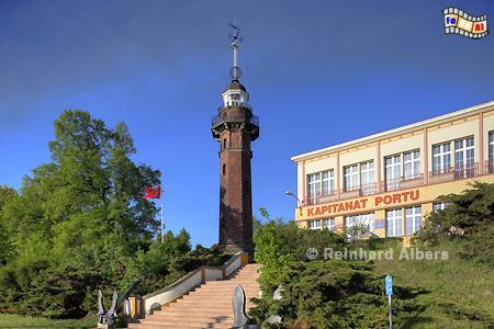 Polen - Gdańsk Nowy Port (Danzig Neufahrwasser) mit Zeitballon an der Spitze. , Leuchtturm, Lighthouse, Phare, Latarnia, Morska, Polen, Ostseeküste, Foto, Albers, foreal, Danzig, Gdańsk,