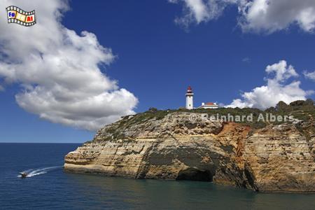 Portugal - Leuchtturm Alfanzina bei Carvoeiro in der Algarve., Leuchtturm, Portugal, Algarve, Carvoeiro, Alfanzina, Albers, foreal, Foto,