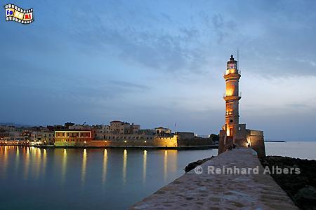 Abendstimmung am venezanischen Hafen in Chania auf der Insel Kreta., Leuchtturm, Lighthouse, Kreta, Chania, foreal, Albers,