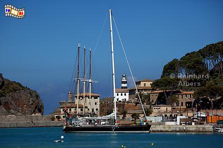 Mallorca - Hafen von Port de Sòller., Leuchtturm, Lighthouse, Phare, Far, Mallorca, Port, Soller, Foto, Albers, foreal,