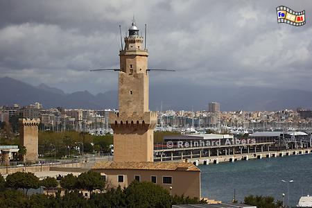 Palma de Mallorca, seit 1617 als Leuchtturm genutzt, damit der drittälteste der Welt., Leuchtturm, Lighthouse, Phare, Far, Mallorca, Palma, Porto Pi, Foto, Albers, foreal,