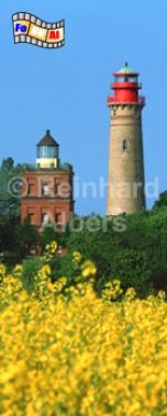 Das Kap Arkona auf der Insel Rügen verfügt über 2 Leuchttürme. Der ältere wurde nach Plänen von Karl-Friedrich Schinkel erbaut., Leuchtturm, Deutschland, Mecklenburg-Vorpommern, Rügen, Kap Arkona