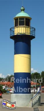 Eckernförde - alter Leuchtturm nicht mehr in Betrieb; in den Farben der Stadt bemalt., Leuchtturm, Deutschland, Schleswig-Holstein, Ostseeküste, Eckernförde