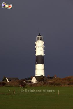 Gewitterhimmel beim Leuchtturm von Kampen auf der Insel Sylt., Leuchtturm, Phare, Lighthouse, Kampen, Sylt, Nordseeküste, Albers, Foto, foreal,