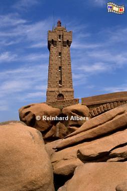 Pointe de Squéouel - Leichtturm Méan Ruz an der Küste des Granit rose., Leuchtturm, Phare, Bretagne, Ploumanach, Granit rose, Albers, Foto, foreal,