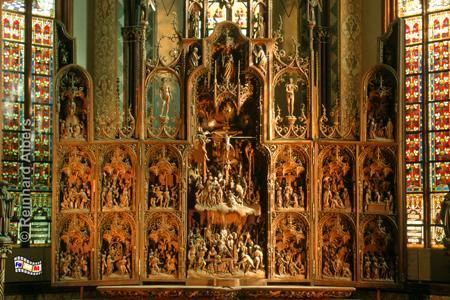 Schleswig Dom: Brüggemann-Altar (1514-21) mit 400 Figuren aus Eichenholz., Schleswig, Brüggemann, Altar, Dom, Albers, Foto, foreal,