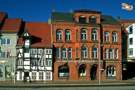 Flensburg - Häuser am Hafen, Schleswig-Holstein, Flensburg, Einkaufstraße, Fußgängerzone, Albers, Foto, foreal,