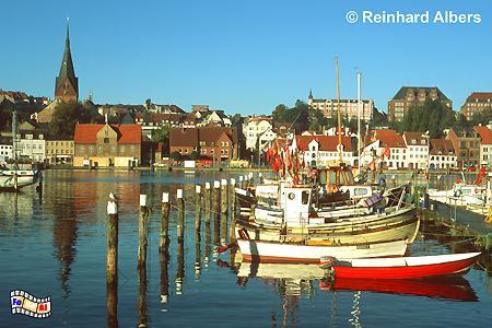 Flensburg - Blick vom Ostufer auf die Innenstadt., Flensburg, Hafen, Förde, Marienkirche, Schleswig-Holstein, Albers, Foto, foreal,