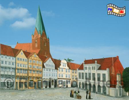 Kiel - Marktplatz mit altem Rathaus und Persianischen Häusern, beides im Krieg zerstört., Kiel, Marktplatz, Rathaus, Foto, Albers, foreal,