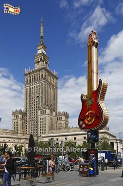 Kulturpalast (Pałac Kultury i Nauki) und Gitarre für Hard Rock Cafe, Polen, Polska, Warschau, Warszawa, Kulturpalast, Pałac, Kultury, Hard Rock, Cafe, foreal, Foto, Albers