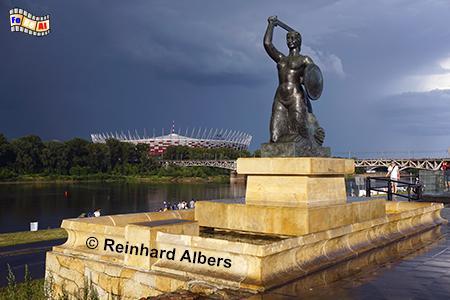 Sirene am Weichselufer, Polen, Polska, Warschau, Warszawa, Sirene, Wappen, Weichsel, Foto, foreal, Albers
