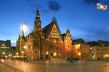 Wrocław (Breslau) - Ostfassade des Rathauses auf dem Rynek (Ring)., Polen, Polska, Schlesien, Wrocław, Breslau, Ring, Rynek, Foto, foreal, Albers