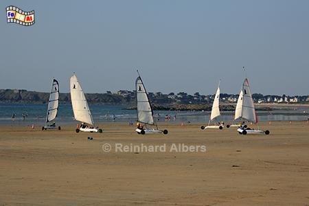 Strandsegler vor Paramé, Frankreich, Bretagne, Saint-Malo, Paramé, Strand, Strandsegler, Plage, Albers, Foto, foreal,