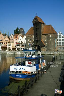 Gdańsk (Danzig) - Das Krantor aus dem Jahr 1444 gilt als Wahrzeichen der Stadt., Polen, Danzig, Gdańsk, Lange Brücke, Długi, Pobrzeże, Krantor, Mottlau, Albers, Foto, foreal