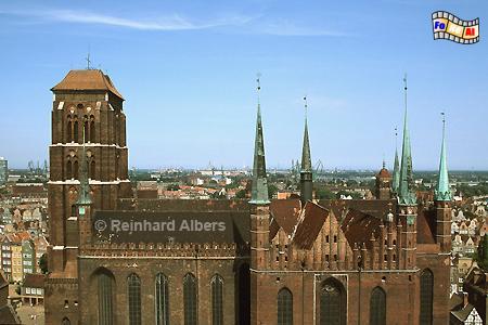 Gdańsk (Danzig) - Kościól Mariacki. Die Danziger Marienkirche ist die größte Backsteinkirche der Welt. Bauzeit 1343-1502., Polen, Danzig, Gdańsk, Rechtstadt, Marienkirche, Kościól, Mariacki. Albers, Foto, foreal