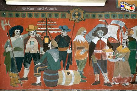 Długi Targ (Langer Markt). Bemalte Fassade eines Bürgerhauses., Polen, Danzig, Gdańsk, Długi, Targ, Langer, Markt, Rechtstadt, Albers, Foto, foreal