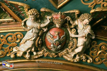 Detail von der Decke im Roten Saal des Rechtstädtischen Rathauses., Polen, Danzig, Gdańsk, Długi, Targ, Langer, Markt, Ratusz, Rathaus, Rechtstadt, Roter, Saal, Albers, Foto, foreal