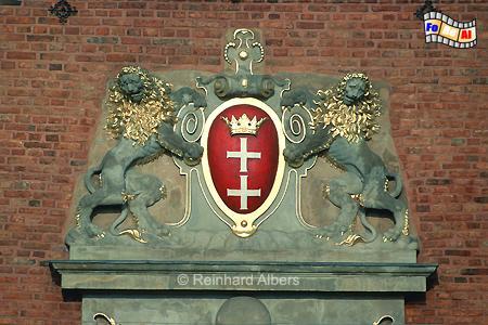 Danziger Stadtwappen am Langgarter Tor (Brama Żulawska)., Polen, Danzig, Gdańsk, Wappen, Stadtwappen, Langgarter Tor, Brama, Żulawska, Albers, Foto, foreal