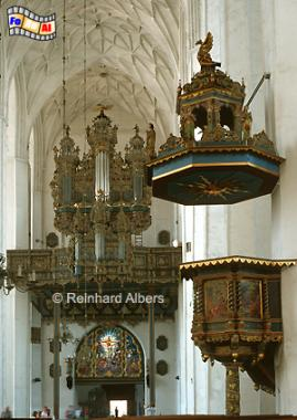 Gdańsk (Danzig) - Kościól Mariacki. Hochkanzel und Orgel in der Marienkirche. , Polen, Danzig, Gdańsk, Rechtstadt, Marienkirche, Kościól, Mariacki. Albers, Foto, foreal