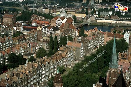 Blick vom Turm der Marienkirche auf die Rechtstadt., Polen, Danzig, Gdańsk, Rechtstadt, Marienkirche, Albers, Foto, foreal