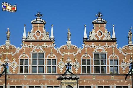 Ausschnitt aus der Fassade des Großen Zeughauses., Polen, Danzig, Gdańsk, Rechtstadt, Zeughaus, Arsenal, Albers, Foto, foreal