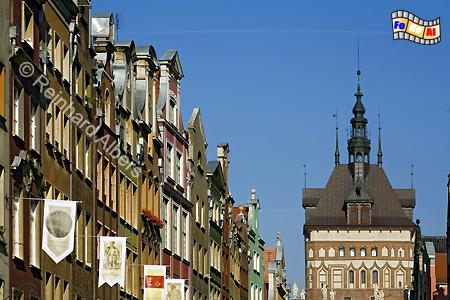 Langgasse mit dem Stockturm im Hintergrund., Polen, Danzig, Gdańsk, Rechtstadt, Ulica Długa, Langgasse, Albers, Foto, foreal, Stockturm,