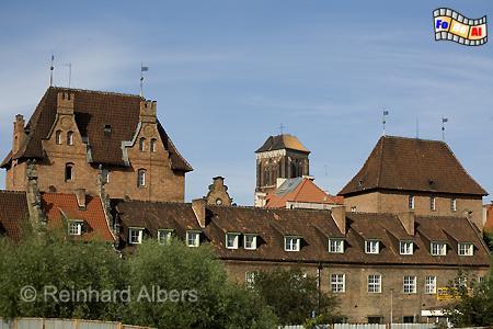 Blick auf die Rechtstadt mit dem Turm der Marienkirche in der Mitte, Polen, Danzig, Gdańsk, Rechtstadt, Albers, Foto, foreal