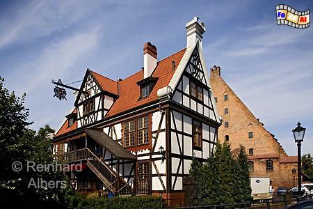 Das Müllerhaus bei der Großen Mühle in der Altstadt., Polen, Danzig, Gdańsk, Altstadt, Große Mühle, Radaune, Albers, Foto, foreal