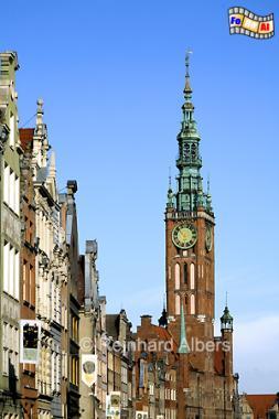 Ulica Długa (Langgasse) und Rathausturm., Polen, Danzig, Gdańsk, Rechtstadt, Rathaus, Ulica Długa, Langgasse, Albers, Foto, foreal