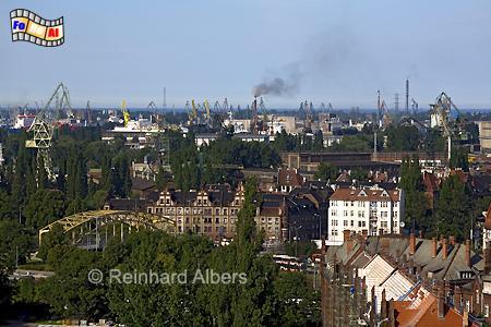 Blick auf die Danziger Werft., Polen, Danzig, Gdańsk, Werft, Kräne, Albers, Foto, foreal