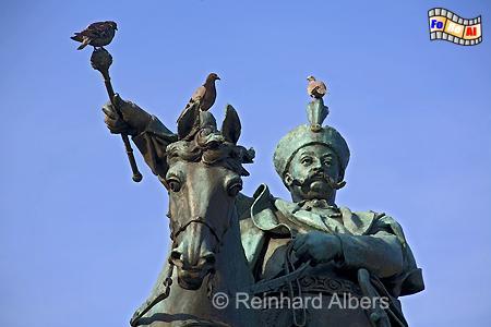 Denkmal für den Polnischen König Jan III. Sobieski auf dem früheren Holzmarkt, heute Targ Drzewny., Polen, Danzig, Gdańsk, Rechtstadt, Sobieski, Denkmal, Holzmarkt, Drzewny, Albers, Foto, foreal