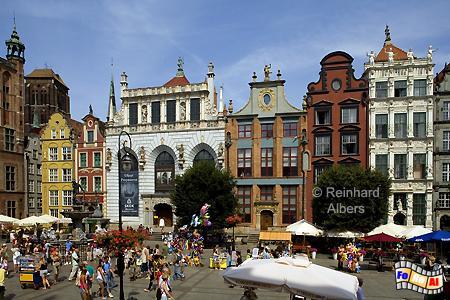 Długi Targ (Langer Markt) - Artushof und sächsische Häuser., Polen, Danzig, Gdańsk, Dwór, Artusa, Artushof, Albers, Foto, foreal