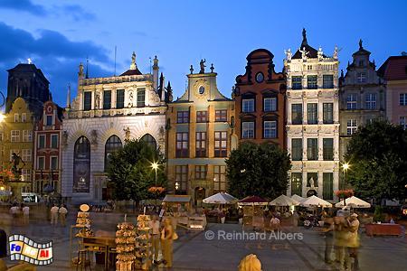 Długi Targ (Langer Markt) - Artushof und sächsische Häuser., Polen, Danzig, Gdańsk, Neptunbrunnen, Langer, Markt, Długi, Targ, Albers, Foto, foreal