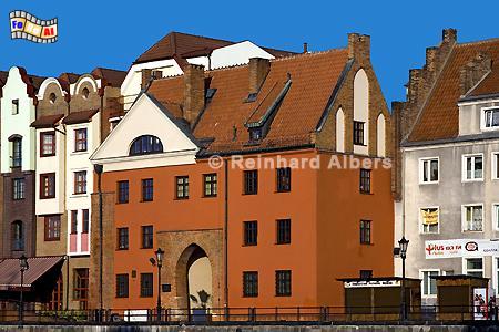 Gdańsk (Danzig) - Das Johannistor (Brama Świętojańska) aus dem 15. Jh, Polen, Danzig, Gdańsk, Lange Brücke, Długi, Pobrzeże, Johannistor, Albers, Foto, foreal, Mottlau,